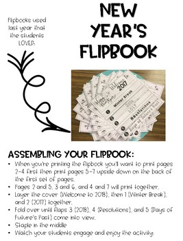 New Year's Flipbook and Activity Sheet