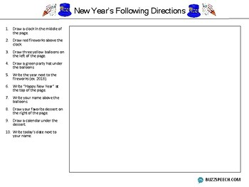 New Year's Following Directions