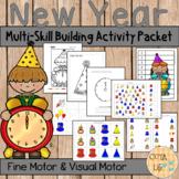 New Year's Fun Fine Motor and Visual Motor Skills Packet (Spanish and English)