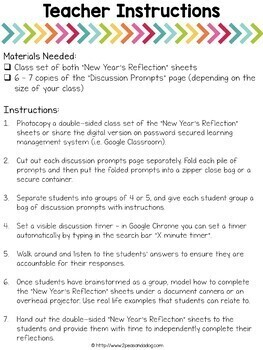 New Year's Goal Setting Activity and Reflection Sheets