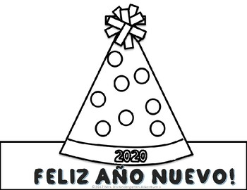 New Year's Hat and Writing Prompt Freebie - English and Spanish