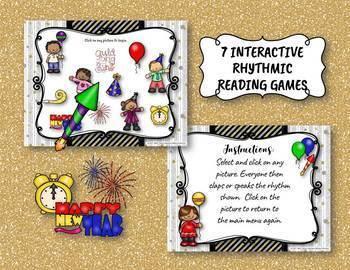 New Year's Interactive Rhythm Practice BUNDLE - 7 GAMES!