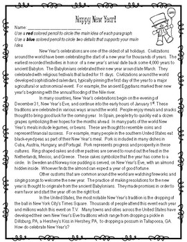 New Year's Main Idea & Details Reading Practice