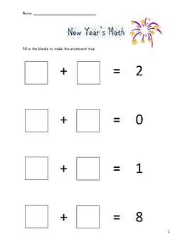 New Year's Math 2018: Simple Addition and Subtraction