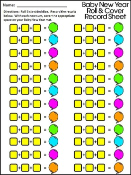 New Year's Activities: Baby New Year Roll & Cover Math Activity