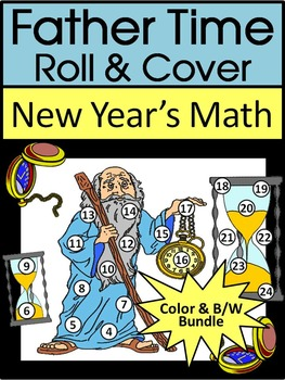 New Year's Activities: Father Time New Year's Roll & Cover Math Activity