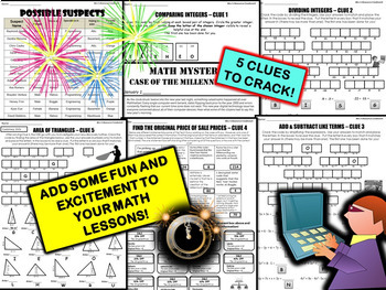 New Year's Math Activity - Integers, Percents, Simplify Expressions, Area