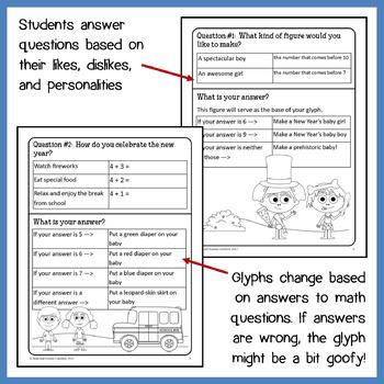 New Year's Math Goofy Glyph (Kindergarten Common Core)