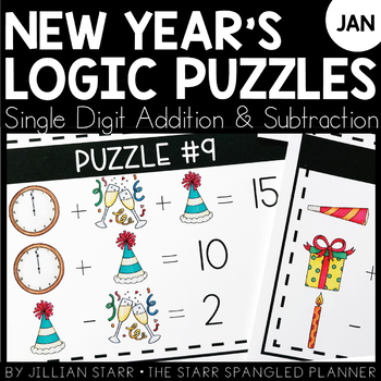 New Year's Math Logic Puzzles- Addition and Subtraction