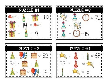 New Year's Math Logic Puzzles- Double Digit Addition and Subtraction