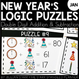 New Year's Math Logic Puzzles- Double Digit Addition and S