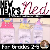 New Year's Math- New Year's Ned Multi-Step Word Problem Craftivity: Grades 2-5