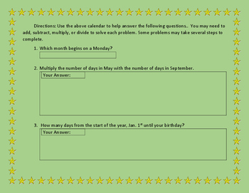 New Year's Math Worksheet - Count the days of 2017