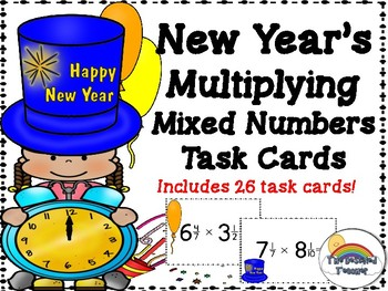 New Year's Multiplying Mixed Fractions Task Cards Activity Center