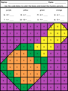 New Year's Mystery Pictures Addition and Subtraction Within 20 ~ Fact Fluency