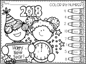 New Year's Number Identification Color-By-Number