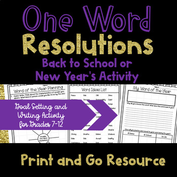One Word Resolutions - Back to School or New Year's Activity
