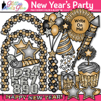 New Year's Eve Party Clip Art {Cupcake, Hat, Star, Balloons, Fireworks, Banner}