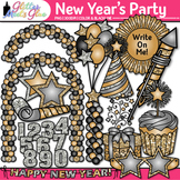 New Year's Eve Party Clip Art | Cupcake, Hat, Star, Balloo