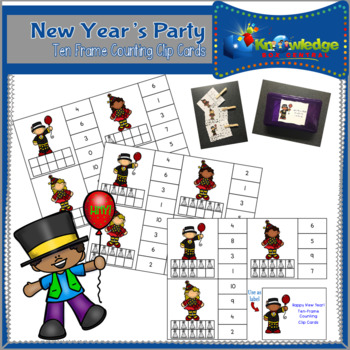 New Year's Party Ten Frame Counting Clip Cards