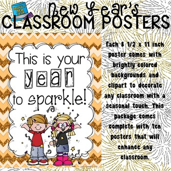 New Year's Poster Set for the Classroom