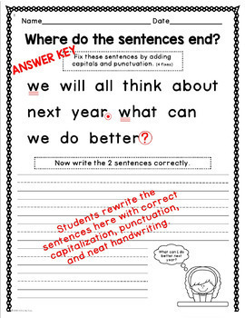 New Year's Writing, Punctuation, and Capitalization; Where do the sentences end?