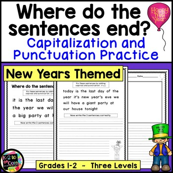 New Year's Punctuation and Capitalization; Where do the se