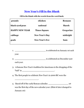New Year's Reading Comprehension Unit