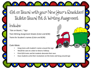 New Year's Resolution Bulletin Board Set & Writing Assignment. Trains