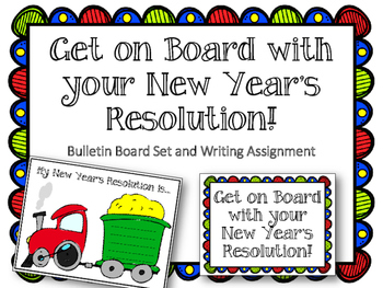 New Year's Resolution Bulletin Board Set & Writing Assignm