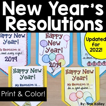 New Year's 2018 Resolution Bunting  Classroom Activity and Decoration
