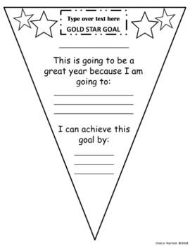 New Year's Resolution Goal Setting Pennant Freebie