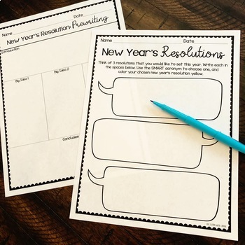 2018 New Year's Resolution Writing Activity