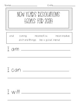 New Year's Resolution Writing and Goal Setting