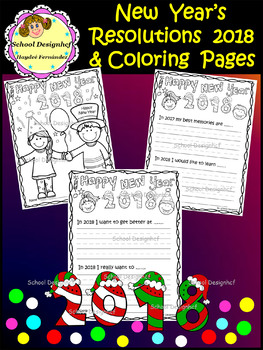 New Year's Resolutions 2018 & Coloring Pages (School Designhcf)