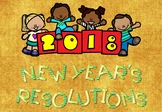 New Year's Resolutions 2018 foldables + writing act+ scavenger hunt + Banner