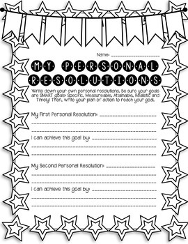 New Year's Resolutions Goal Writing Unit