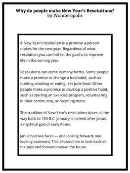 New Year's Resolutions Activity