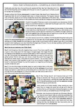 New Year's Resolutions - Creating a Vision Board - Reading Comprehension