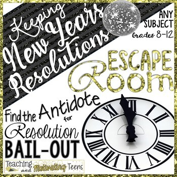 New Year's Activities Escape Room - Keep Resolutions & Reach Goals Grades