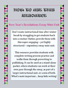 Year's Resolutions Essay Mini-Unit || Expository Writing for New ...