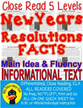 New Year's Resolutions FACTS Close Read 5 Levels Info Text Main Idea Fluency