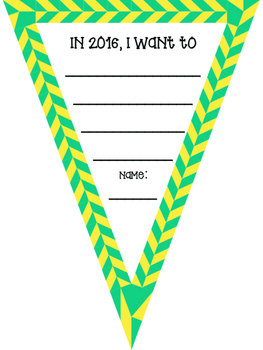 New Year 2016 - New Year's Resolutions Pennants
