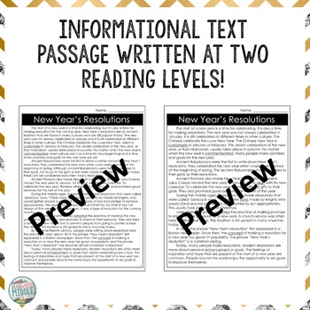 New Year's Resolutions Reading Comprehension Passage and Questions