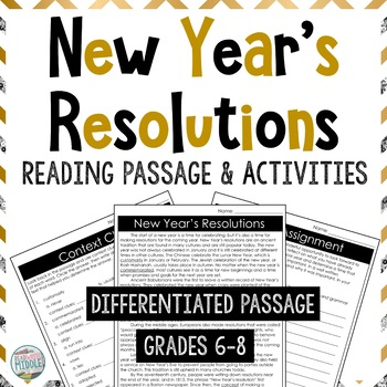 New Year's Resolutions Differentiated Reading Passage & Context Clues Activities