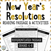 New Year's Resolutions Reading Comprehension Passage and Q