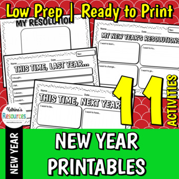 New Year's Resolutions, Reflections & Goals Printable Activity Pages