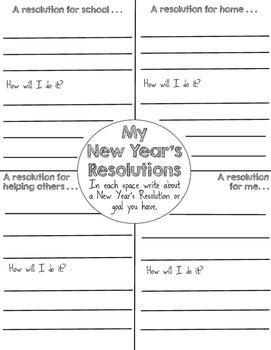 New Year's Resolutions Writing Activity and Craft