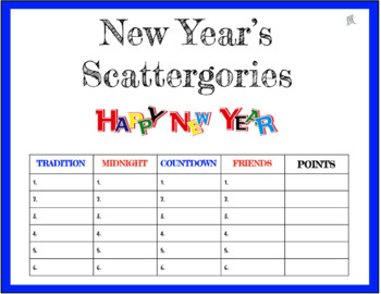 New Year's Scattergories Game