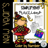 New Year's Simplifying Fractions Color by Number